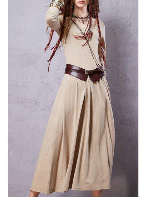 Robe vintage à couleur pure à manches longues à encolure dégagée - Jaunâtre L Mobile