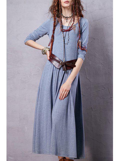 Robe vintage à couleur pure à manches longues à encolure dégagée - Bleu clair S Mobile
