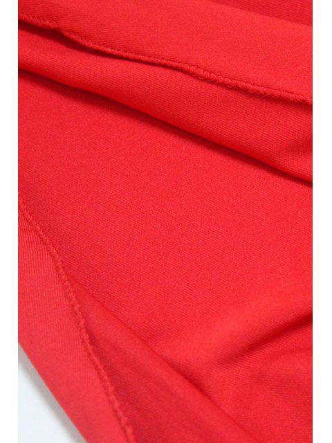 womens Backless Irregular Hem Halter Asymmetrical Bodycon Dress - RED S Mobile