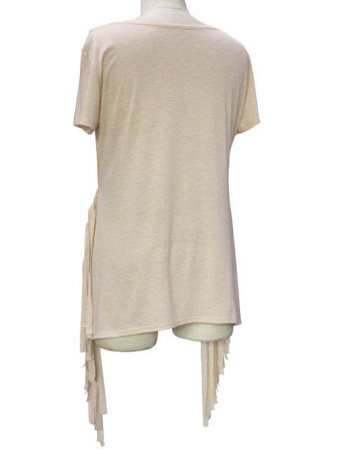 Manches courtes Glands Spliced ​​col rond T-shirt - Kaki Clair S Mobile