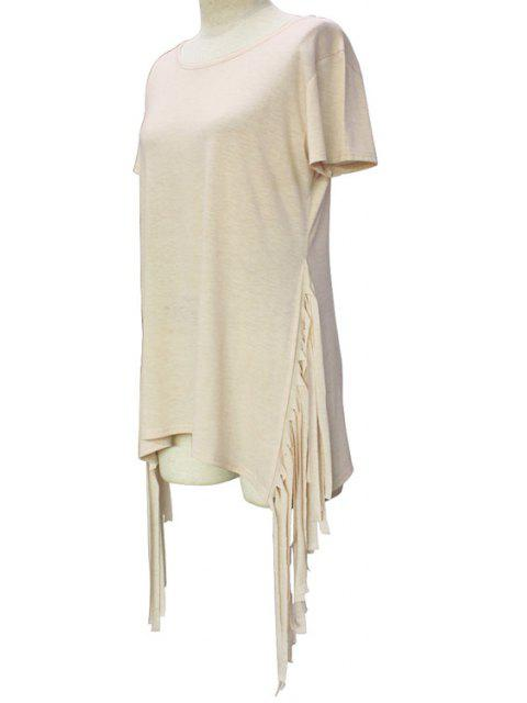 ladies Short Sleeve Tassels Spliced Round Collar T-Shirt - LIGHT KHAKI S Mobile