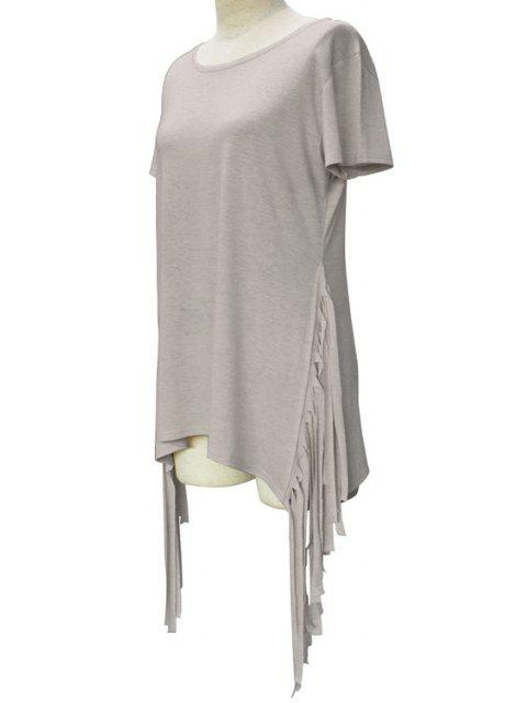 women's Short Sleeve Tassels Spliced Round Collar T-Shirt - LIGHT GRAY XL Mobile