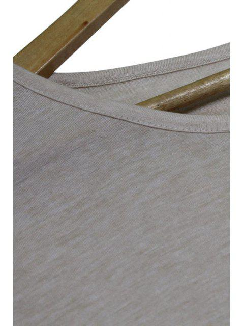 Manches courtes Glands Spliced col rond T-shirt - Gris Clair XL Mobile