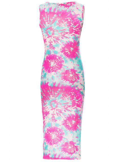 trendy Printed Scoop Neck Sleeveless Bodycon Dress - WHITE M Mobile