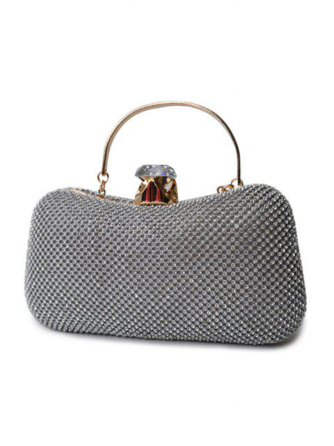 shop Rhinestone Metal Solid Color Evening Bag - SILVER  Mobile