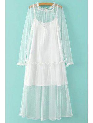 Robe Mesh Sheer Et Cami Slip Dress Twinset - Blanc L