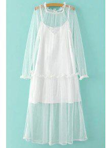 Sheer Mesh Dress And Cami Slip Dress Twinset - White L