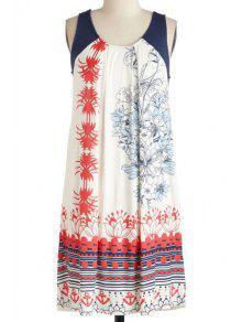 Vestido De Cuello Redondo Sin Mangas Impreso - Blanco Xl
