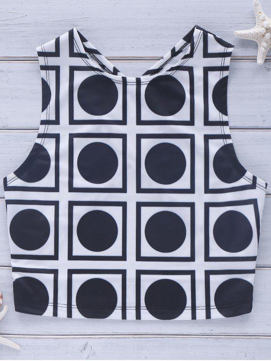 Camisa corta ocasional espalda cruzada de Geo para las mujeres - Blanco y Negro S