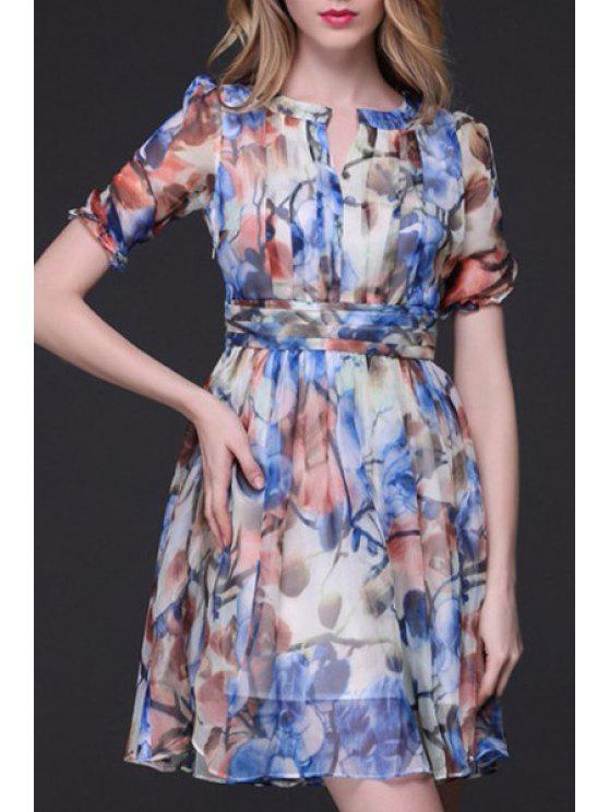 Printed Crinkly Chiffon Waisted Dress - Bleu XL