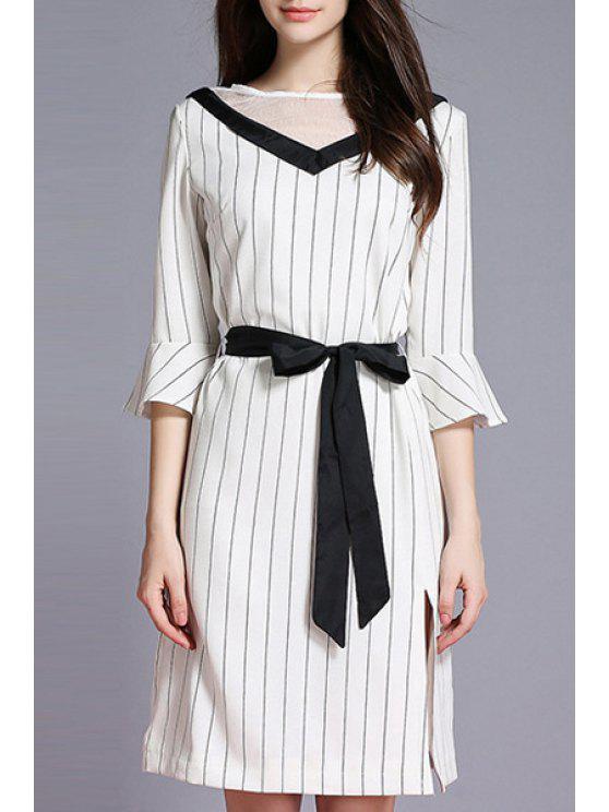 Striped Side Vent Kontrast Gürtel Kleid - Weiß XL