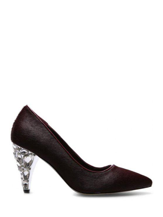 hot Rhinestone Horsehair Pointed Toe Pumps - WINE RED 39