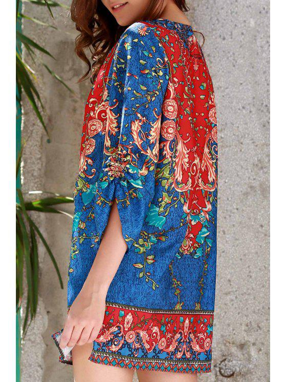 fancy 3/4 Sleeve Vintage Print Dress - PURPLISH BLUE L
