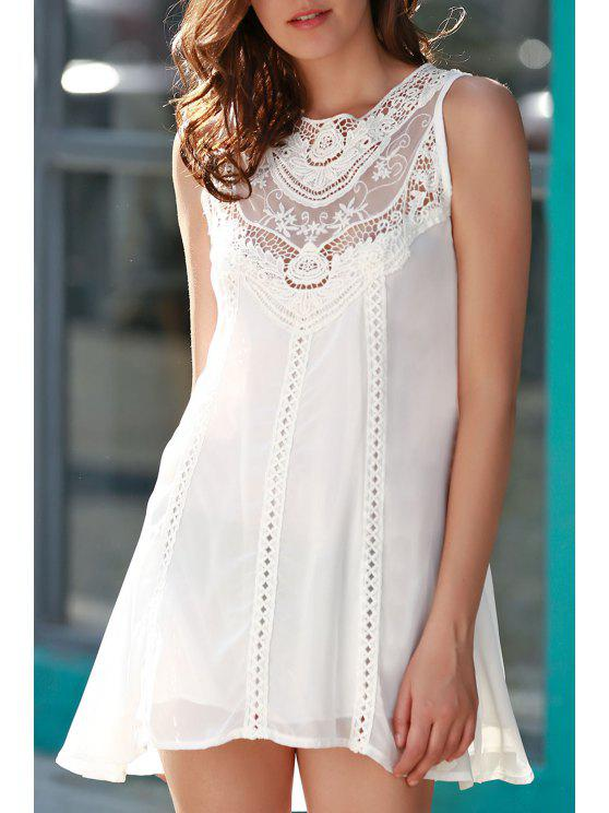 fashion Spliced Openwork White Chiffon Dress - WHITE L