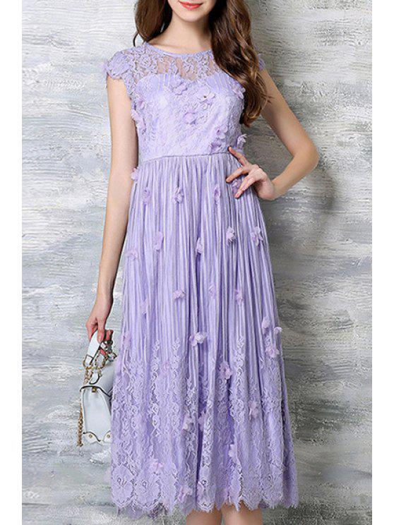 ladies Stereo Flower Appliqued Fairy Dress - PURPLE 2XL