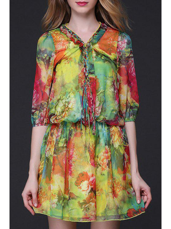 unique Half Sleeve Chiffon Floral Dress - COLORMIX XL