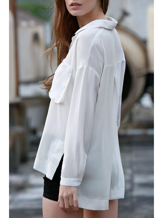 Double Pocket Turn Down Collar manches longues - Blanc M