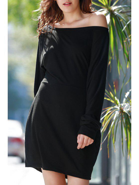 buy Skew Neck Packet Buttocks Sheath Dress - BLACK S