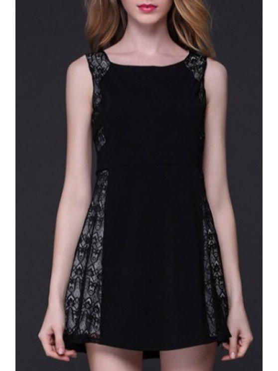 Patchwork A-Line Tank Dress Lace - Noir XL