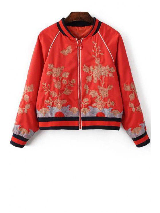 Bordado floral del soporte de la chaqueta de cuello de manga larga - Rojo L