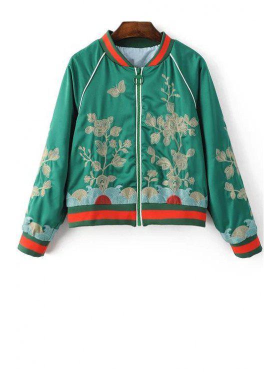 Bordado floral del soporte de la chaqueta de cuello de manga larga - Verde M