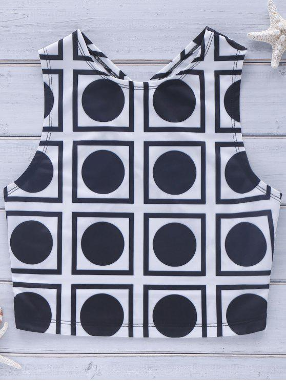 ladies Cross Back Geo Crop Top - WHITE AND BLACK XL