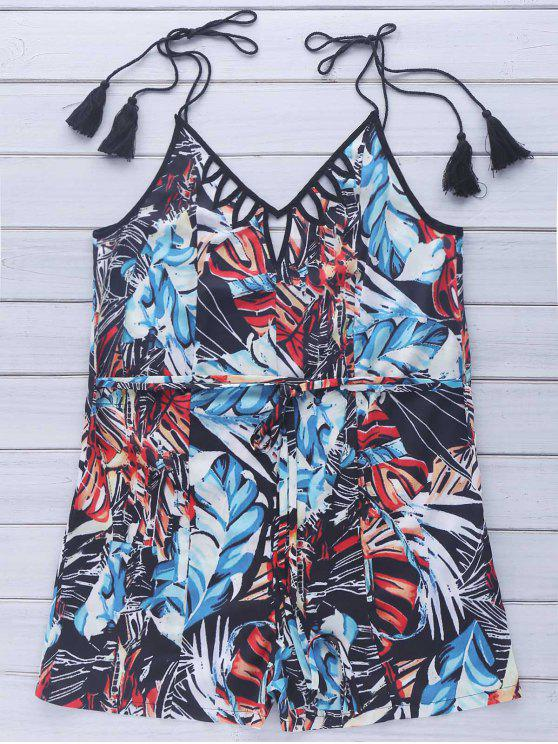 lady String Belt Printed Tassel Slip Romper - COLORMIX L