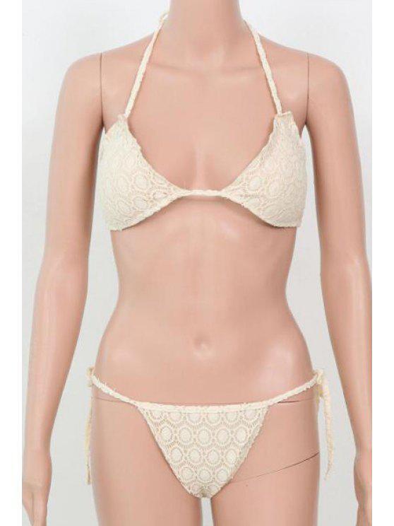 Pure Color Halter Bikini Set - Bianco L