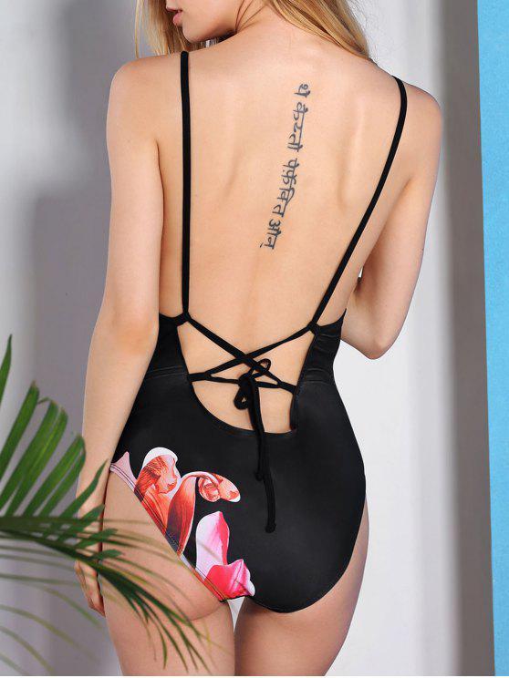 online Vintage Flower Printed Back Criss-Cross One-Piece Swimwear For Women - BLACK 2XL