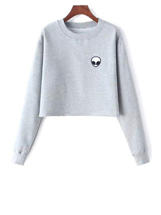 lady Alien Embroidered Cropped Sweatshirt - LIGHT GRAY ONE SIZE(FIT SIZE XS TO M)