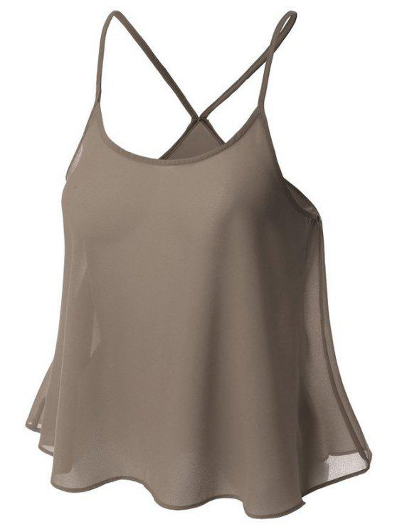lady Candy-Colored Chiffon Cami Top - GRAY S