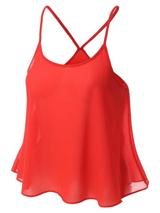 women's Candy-Colored Chiffon Cami Top - RED L