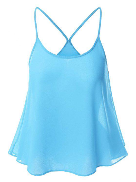 Doce de cor Chiffon Cami Top - Azul-celeste XL