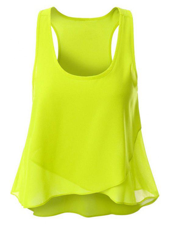 womens Overlaped Chiffon Tank Top - GREEN L
