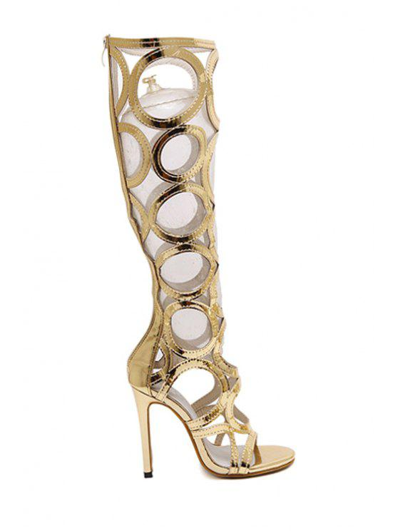 fancy Stiletto Heel Hollow Out Solid Color Sandals - GOLDEN 35