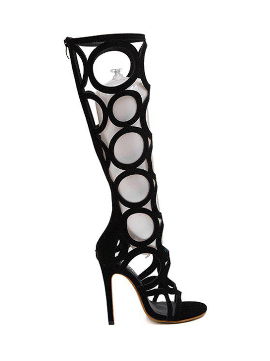outfits Knee-High Hollow Out Black Sandals - BLACK 36