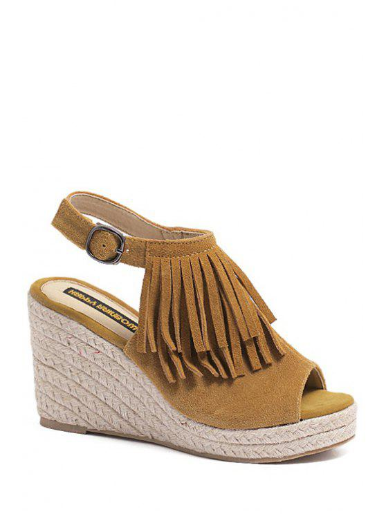 women's Fringe Peep Toe Wedge Heel Sandals - BROWN 38