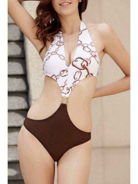 fancy Backless Halter Printed One Piece Swimwear - COLORMIX L