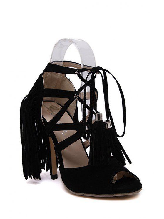 chic Lace-Up Peep Toe Fringe Sandals - BLACK 38