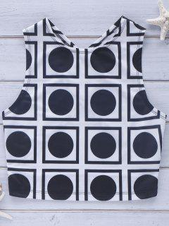 Cross Back Geo Crop Top - White And Black Xl