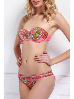 Ethnische Print Strapless Bikini Set - Rot S