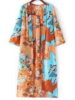 Kimono Sleeve Printed Long Blouse - L