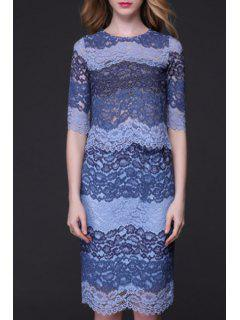 Color Block Ribbed Lace Top + Tube Skirt Twinset - Blue L