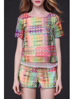 Chiffon Printed Tee + Shorts Suit - Xl