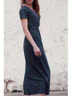 Deep Gray V Neck Short Sleeve Maxi Dress - Deep Gray Xl