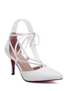 Solid Color Pointed Toe Lace-Up Pumps - White 39