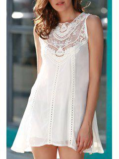 Spliced Openwork White Chiffon Dress - White L