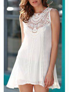 Robe Blanche Avec Patchwork Ajouré En Mousseline De Soie - Blanc L