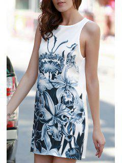 Floral Print A-Line Tank Dress - White Xl
