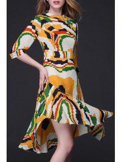 Géométrique Imprimer Volantées Ruffle Hem Dress - Xl